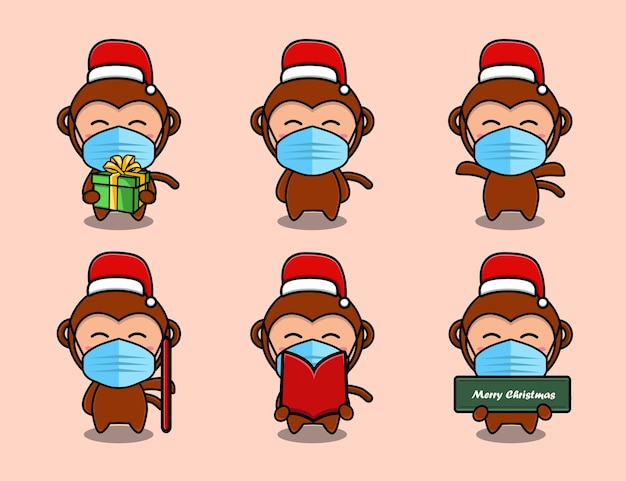 Singe mignon portant un ensemble de dessins animés de chapeau de noël
