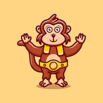 Un singe mignon remporte un match de boxe