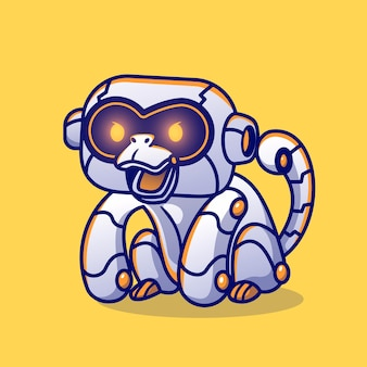 Singe mignon robot cartoon vector icon illustration. concept d'icône de science animale isolé vecteur premium. style de dessin animé plat