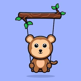 Singe mignon se balançant sur la mascotte de dessin animé d'arbre