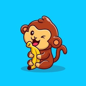 Singe mignon tenant illustration de dessin animé de banane. concept d & # 39; icône de nourriture animale