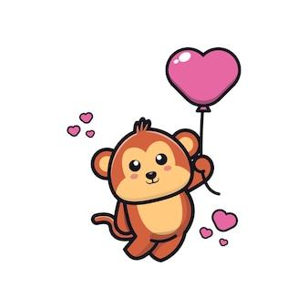 Singe mignon tenant illustration d'icône de dessin animé de ballon d'amour
