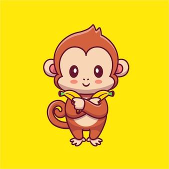 Singe mignon tenant illustration d'icône de dessin animé de banane.