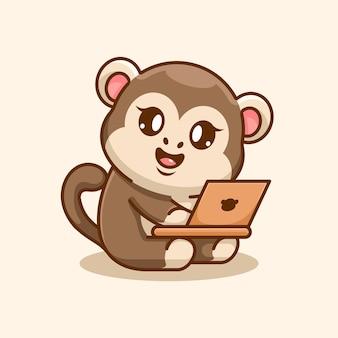Singe mignon travaillant sur un dessin animé d'ordinateur portable