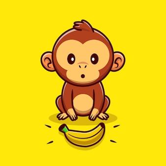 Singe mignon trouvant illustration de dessin animé de banane