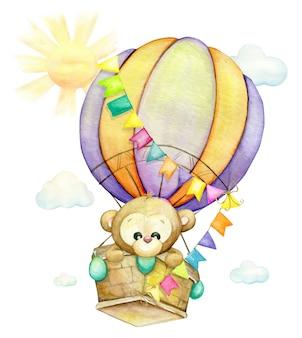 Singe mignon volant dans un ballon. aquarelle