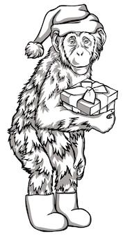 Singe noir et blanc avec un cadeau illustration vectorielle. symboles du nouvel an chinois