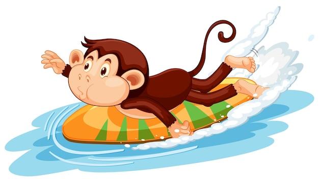 Singe sur le personnage de dessin animé de planche de surf