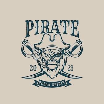 Singe pirate monochrome vintage