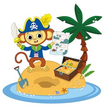 Le singe pirate a trouvé le coffre au trésor avec sa carte sur une île fond blanc