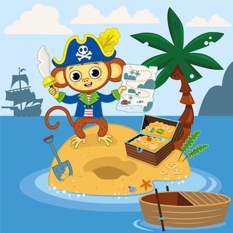 Le singe pirate a trouvé le coffre au trésor avec sa carte sur une île illustration vectorielle