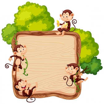 Singe sur une planche de bois