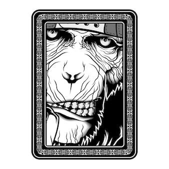 Singe, singe, dessin à la main noir et blanc