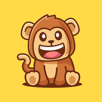 Singe souriant mignon dessin animé assis
