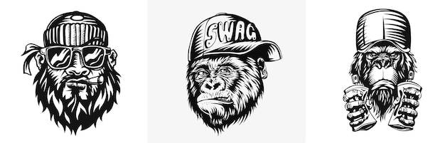 Singe swag avec casquette attributs de style de rue moderne de singe pour t-shirt et tatouage