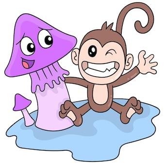 Les singes et les champignons s'amusent ensemble pour accueillir les vacances, l'art de l'illustration vectorielle. doodle icône image kawaii.