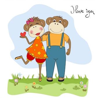 Singes couple amoureux