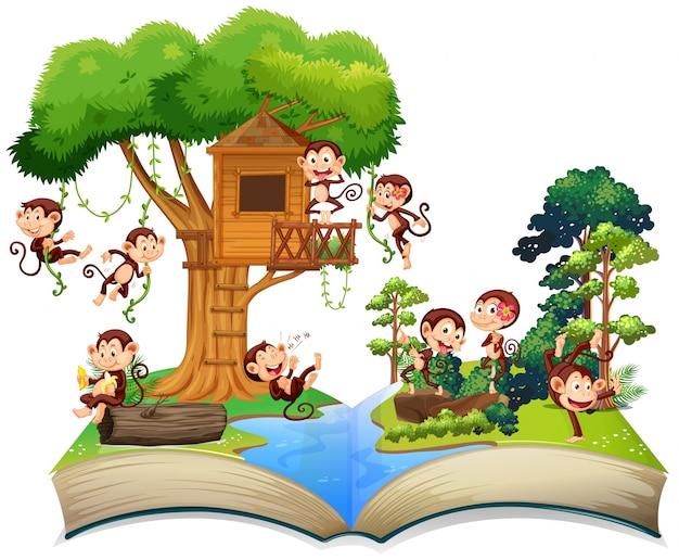 Singes jouant à la cabane dans les arbres