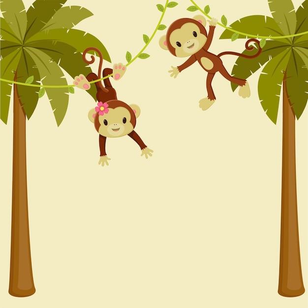 Singes mignons accrochés aux palmiers. illustration vectorielle de dessin animé.