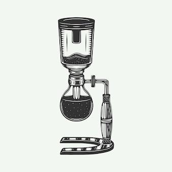 Siphon de cafetière rétro vintage peut être utilisé comme insigne de logo emblème