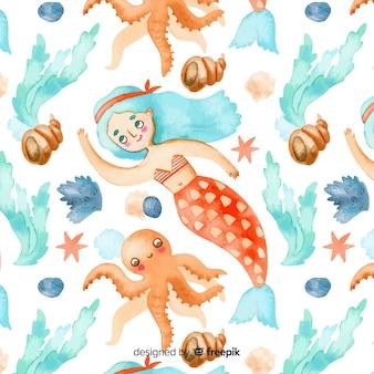 Sirène aquarelle avec motif de cheveux bleus