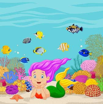 Sirène de bande dessinée dans le fond sous-marin