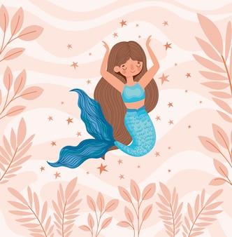 Sirène bleue mignonne