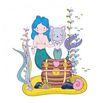 Sirène et burrmain avec un coffre au trésor