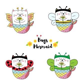 Sirène de chat mignon en costume d'insecte, dessinés à la main de dessin animé.