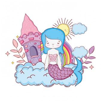 Sirène avec château et arc-en-ciel
