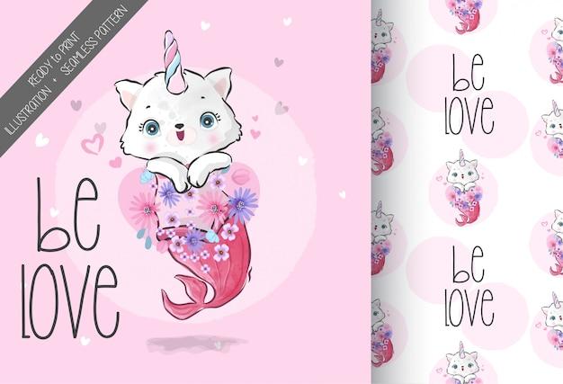 Sirène de chaton mignon bébé animal avec motif sans couture
