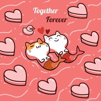 Sirène de chats kawaii amoureux de couple, carte de saint valentin heureuse