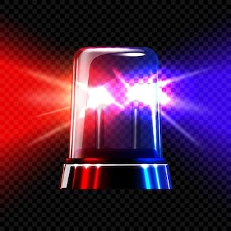 Sirène clignotante transparente d'urgence rouge et bleue