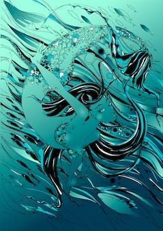 Sirène. le conte est un mythe. monde sous marin. des poissons.