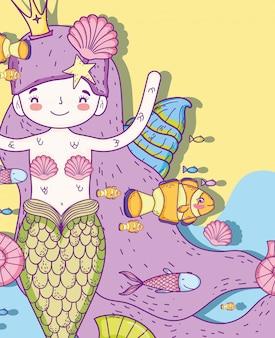 Sirène avec coquillages et poissons sous l'eau