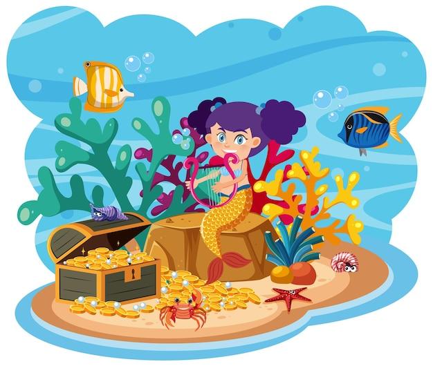 Sirène dans le monde sous-marin