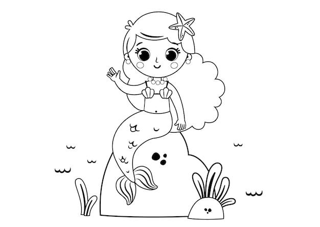 Sirène de dessin animé pour l'illustration vectorielle de l'activité de la page à colorier