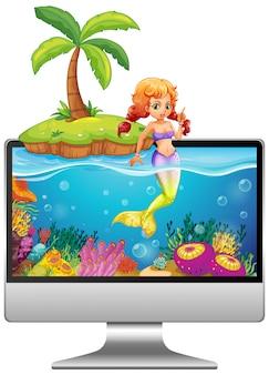 Sirène sur l'écran de l'ordinateur