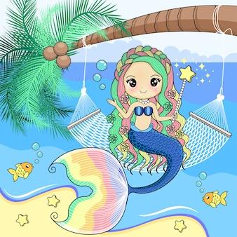 La sirène est assise sur un berceau de corde attaché à un cocotier.