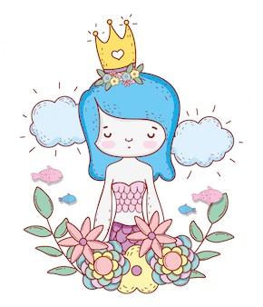 Sirène, femme, porter, couronne, fleurs, feuilles