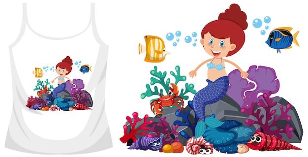Sirène sur les hauts de maillot de bain maquette