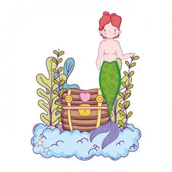 Sirène mâle avec scène sous-marine de coffre au trésor