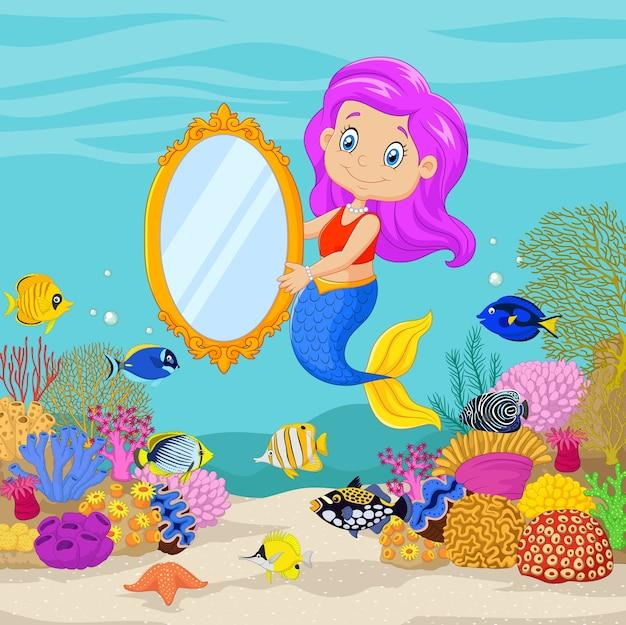 Sirène mignon tenant un miroir classique