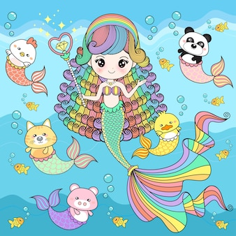 Sirène mignonne avec des amis