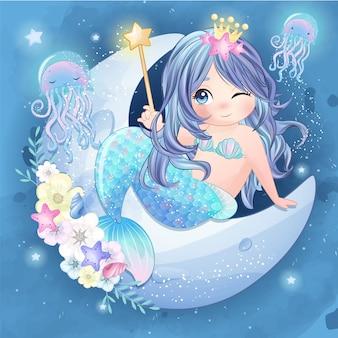 Sirène mignonne dessinée à la main, assis dans la lune