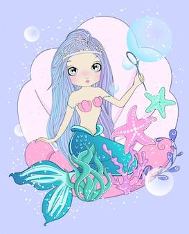 Sirène mignonne dessinée à la main