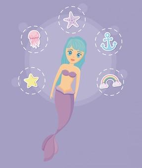 Sirène mignonne avec icônes définies