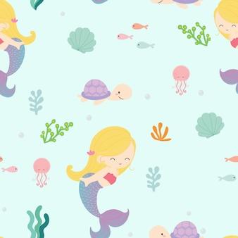 Sirène mignonne sans soudure fond.
