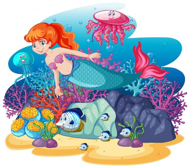 Sirène mignonne avec le style de dessin animé de scène de thème de la mer animale isolé