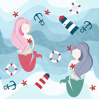 Sirène et objets d'été et de l'océan sous le monde de l'eau